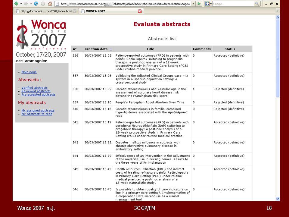 Wonca 2007 m.j.3C GP/FM18 Ecran wonca 2007 avec 1 page d'abstracts à inserer ici