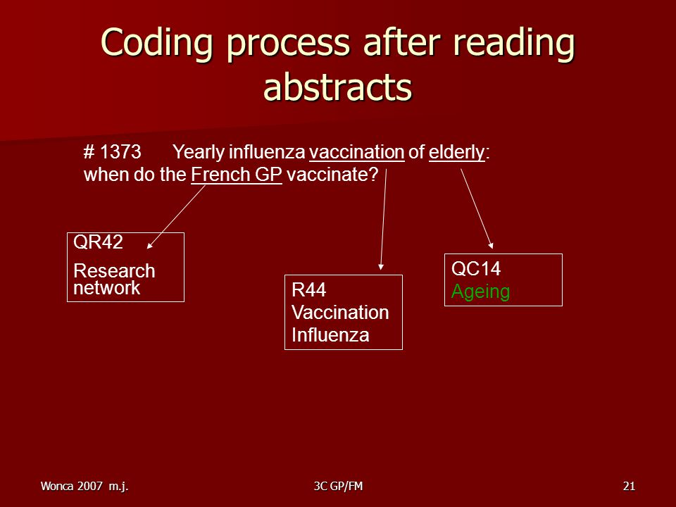 Wonca 2007 m.j.3C GP/FM21 Coding process after reading abstracts # 1373 Yearly influenza vaccination of elderly: when do the French GP vaccinate.