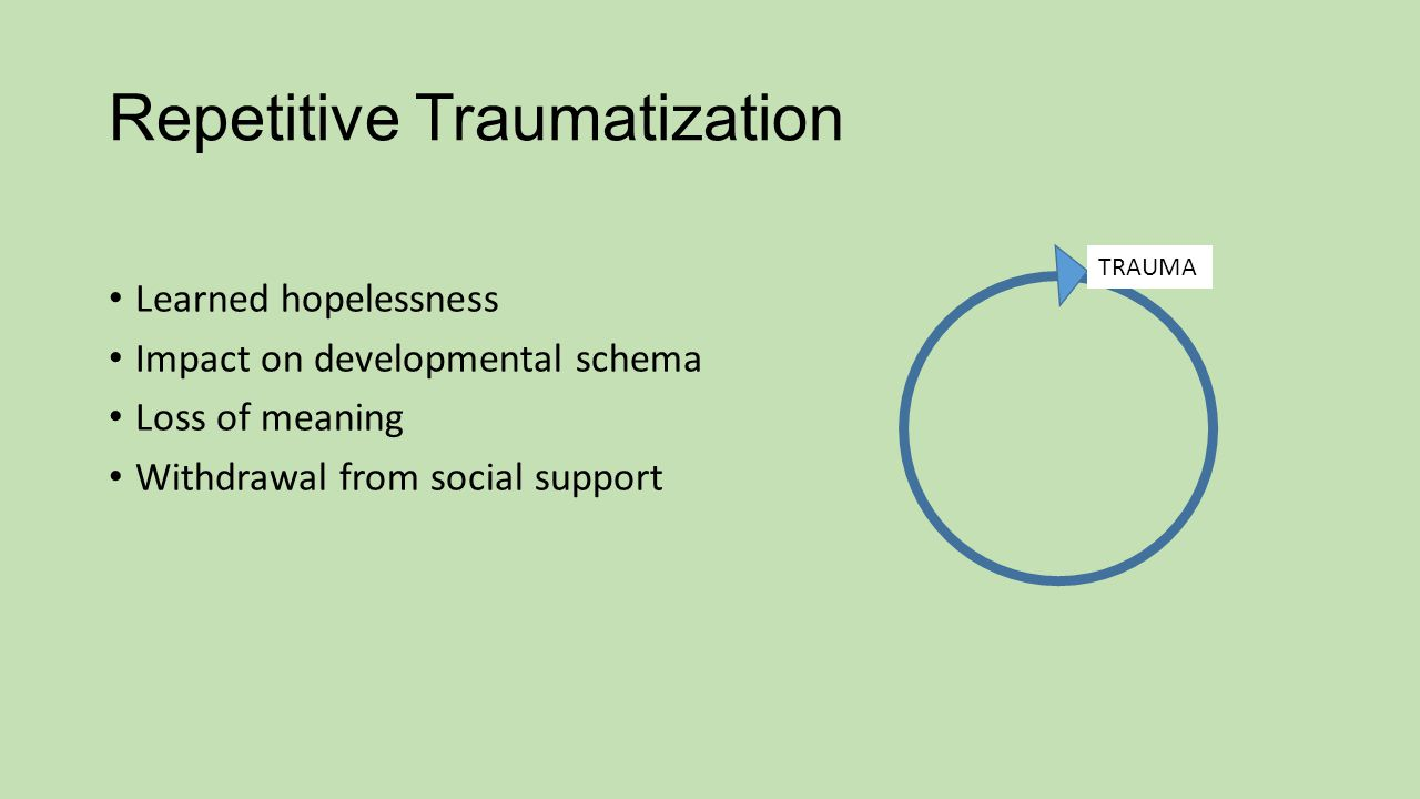 Repetitive Traumatization Learned hopelessness Impact on developmental schema Loss of meaning Withdrawal from social support TRAUMA