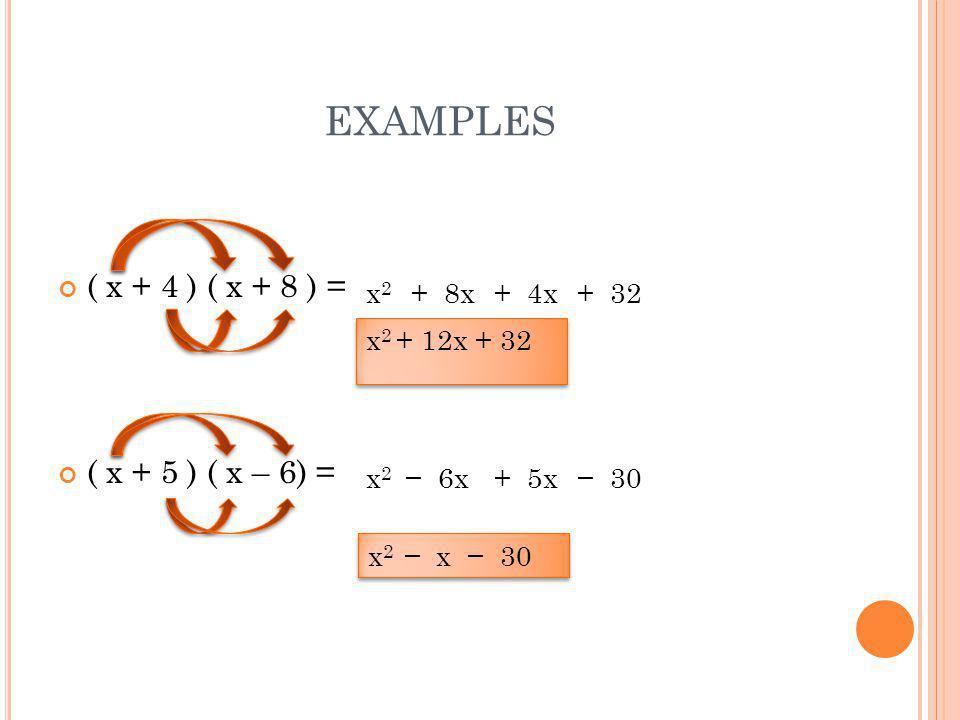 EXAMPLES ( x + 4 ) ( x + 8 ) = ( x + 5 ) ( x – 6) = x2x2 + 8x+ 4x+ 32 x2x2 − 6x+ 5x− 30 x 2 + 12x + 32 x 2 + 12x + 32 x 2 − x − 30