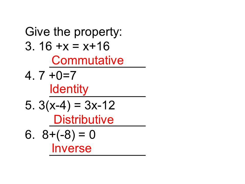 7.Simplify:5(4x-2) - 2(x+8) Solve: 8. 8x – 10 = 18 – 4x 9.