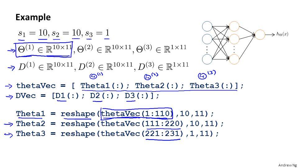 Andrew Ng Example thetaVec = [ Theta1(:); Theta2(:); Theta3(:)]; DVec = [D1(:); D2(:); D3(:)]; Theta1 = reshape(thetaVec(1:110),10,11); Theta2 = reshape(thetaVec(111:220),10,11); Theta3 = reshape(thetaVec(221:231),1,11);