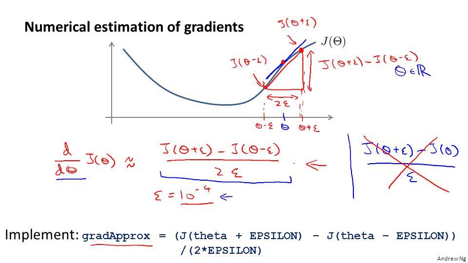 Andrew Ng Numerical estimation of gradients Implement: gradApprox = (J(theta + EPSILON) – J(theta – EPSILON)) /(2*EPSILON)
