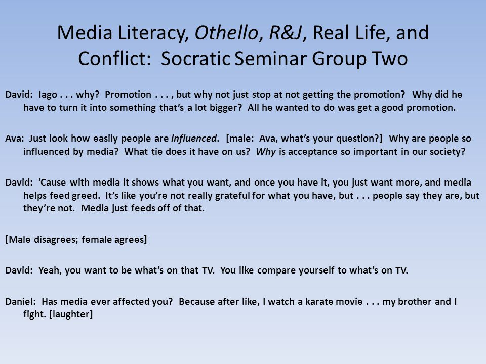 Producing Media: Conflict and Real Life Scenarios – Live improv, Xtranormal, Storybird Statements, distilled – LetterJames, Animoto Panel Discussion, planned questions Formal Letters
