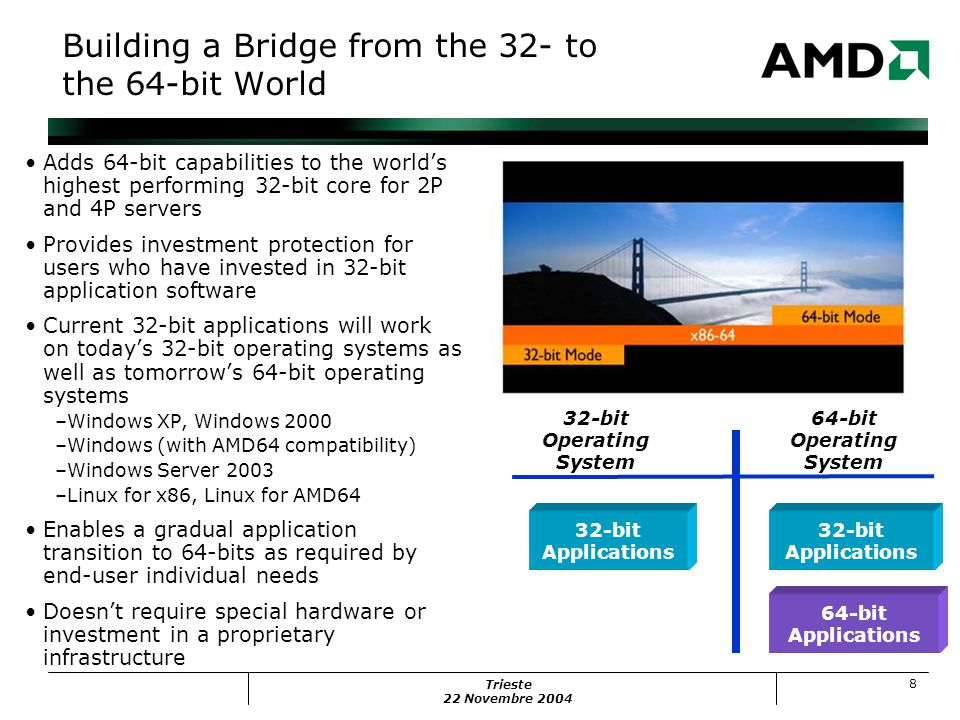 Trieste 22 Novembre 2004 8 Building a Bridge from the 32- to the 64-bit World Adds 64-bit capabilities to the world's highest performing 32-bit core for 2P and 4P servers Provides investment protection for users who have invested in 32-bit application software Current 32-bit applications will work on today's 32-bit operating systems as well as tomorrow's 64-bit operating systems –Windows XP, Windows 2000 –Windows (with AMD64 compatibility) –Windows Server 2003 –Linux for x86, Linux for AMD64 Enables a gradual application transition to 64-bits as required by end-user individual needs Doesn't require special hardware or investment in a proprietary infrastructure 32-bit Operating System 64-bit Operating System 32-bit Applications 64-bit Applications