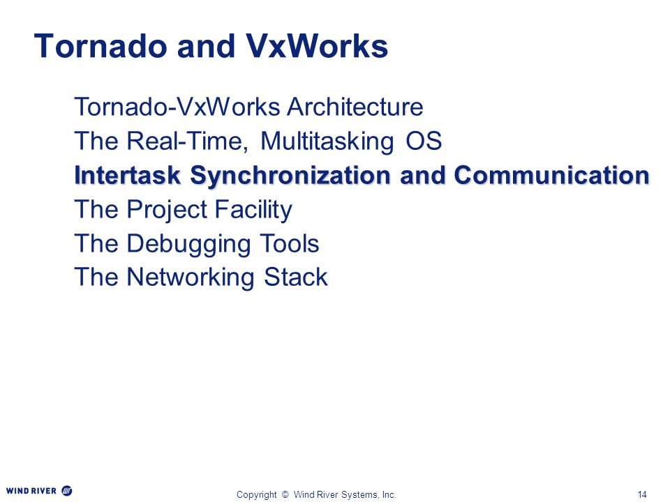Copyright © Wind River Systems, Inc.14 Tornado-VxWorks Architecture The Real-Time, Multitasking OS Intertask Synchronization and Communication The Pro