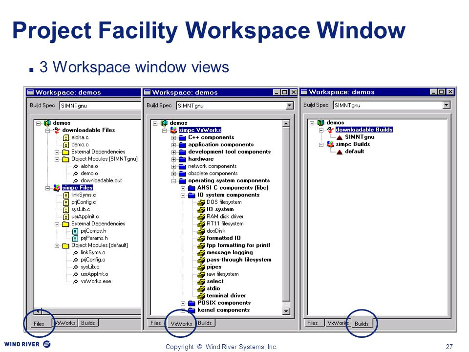 Copyright © Wind River Systems, Inc.27 Project Facility Workspace Window 3 Workspace window views