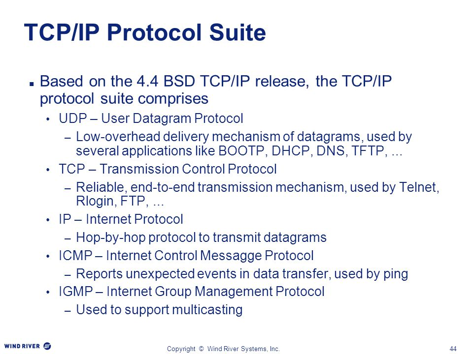 Copyright © Wind River Systems, Inc.44 TCP/IP Protocol Suite Based on the 4.4 BSD TCP/IP release, the TCP/IP protocol suite comprises UDP – User Datag