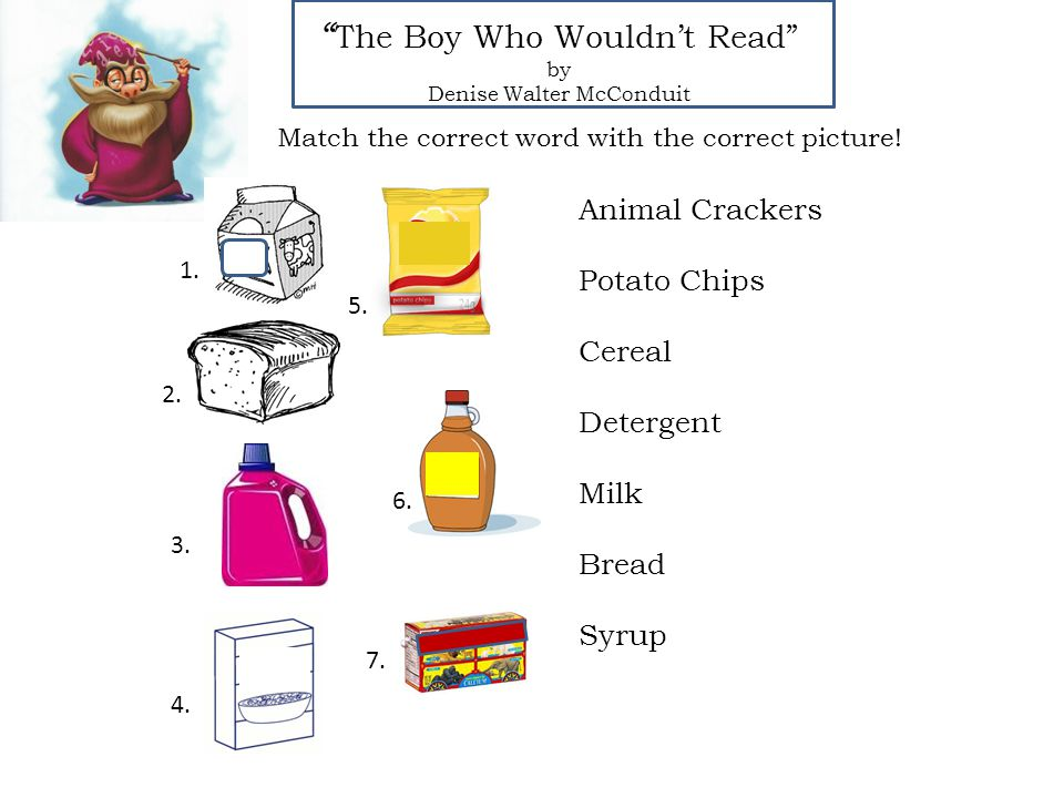 The Boy Who Wouldn't Read by Denise Walter McConduit Animal Crackers Potato Chips Cereal Detergent Milk Bread Syrup Match the correct word with the correct picture.