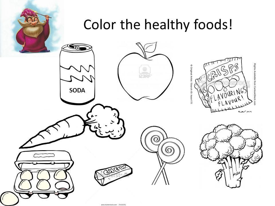 Color the healthy foods! SODA
