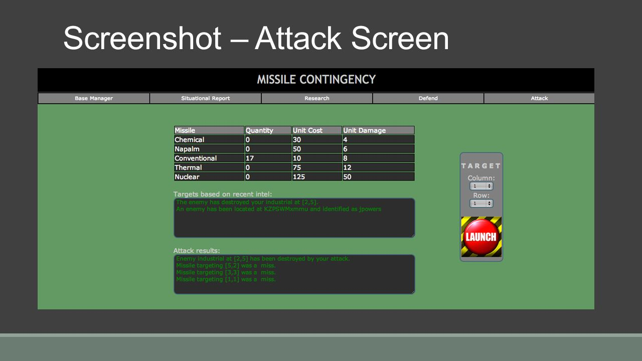Screenshot – Attack Screen