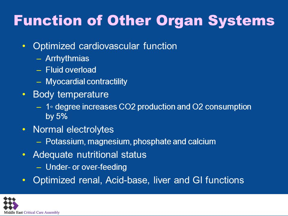 Function of Other Organ Systems Optimized cardiovascular function –Arrhythmias –Fluid overload –Myocardial contractility Body temperature –1◦ degree increases CO2 production and O2 consumption by 5% Normal electrolytes –Potassium, magnesium, phosphate and calcium Adequate nutritional status –Under- or over-feeding Optimized renal, Acid-base, liver and GI functions
