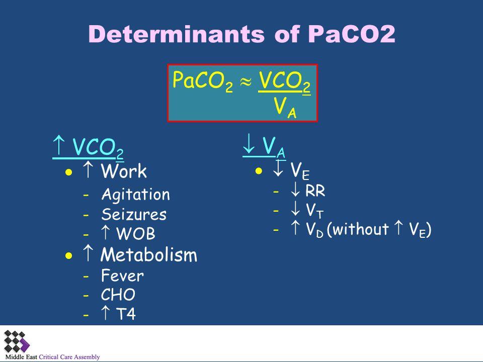 Determinants of PaCO2 PaCO 2  VCO 2 V A  VCO 2  Work -Agitation -Seizures -  WOB  Metabolism -Fever -CHO -  T4  V A  V E -  RR -  V T - 