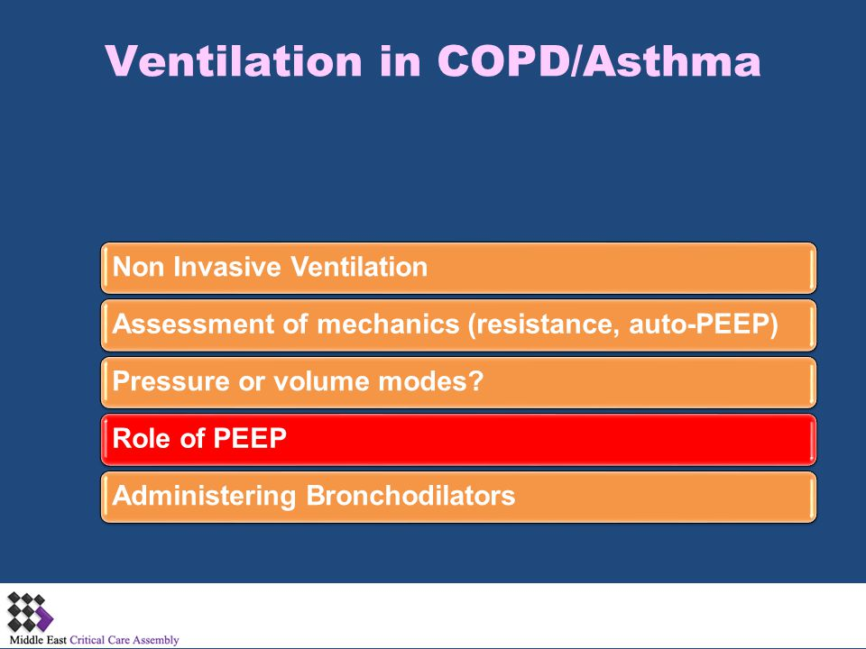 Ventilation in COPD/Asthma Non Invasive VentilationAssessment of mechanics (resistance, auto-PEEP)Pressure or volume modes?Role of PEEPAdministering B