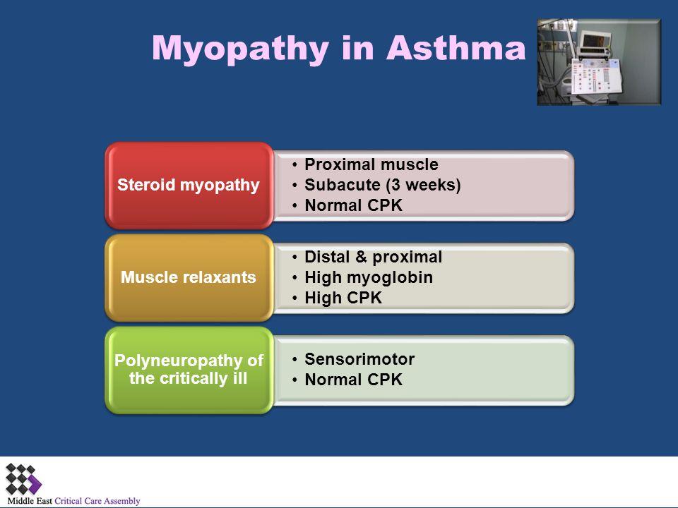 Myopathy in Asthma Proximal muscle Subacute (3 weeks) Normal CPK Steroid myopathy Distal & proximal High myoglobin High CPK Muscle relaxants Sensorimo
