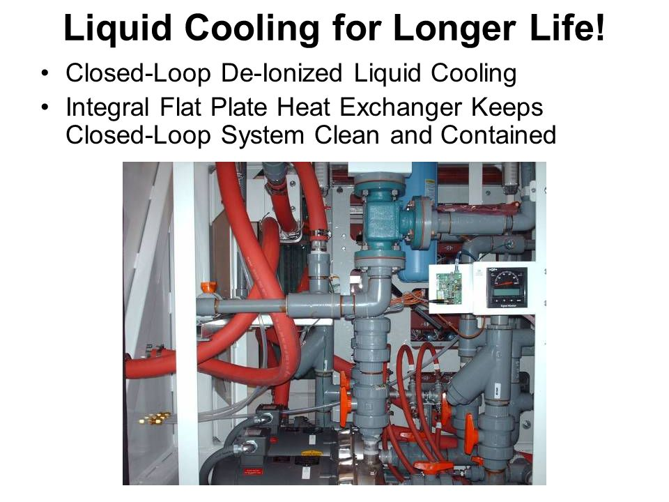 Liquid Cooling for Longer Life! Closed-Loop De-Ionized Liquid Cooling Integral Flat Plate Heat Exchanger Keeps Closed-Loop System Clean and Contained