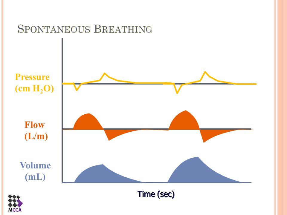 S PONTANEOUS B REATHING Time (sec) Flow (L/m) Pressure (cm H 2 O) Volume (mL)