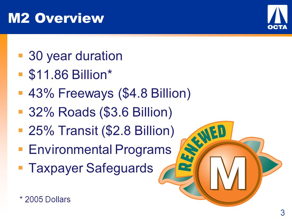 3 M2 Overview  30 year duration  $11.86 Billion*  43% Freeways ($4.8 Billion)  32% Roads ($3.6 Billion)  25% Transit ($2.8 Billion)  Environment