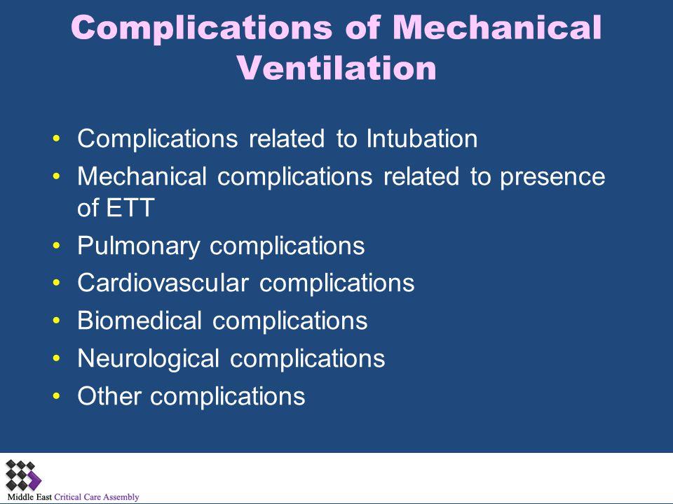 Complications of Mechanical Ventilation Complications related to Intubation Mechanical complications related to presence of ETT Pulmonary complication