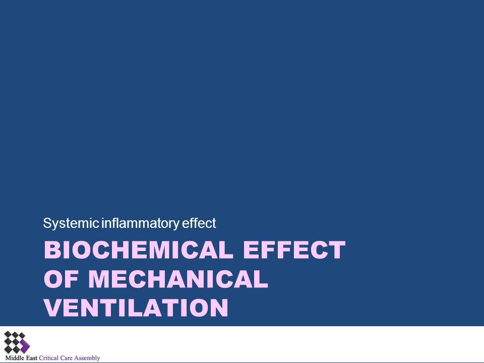 BIOCHEMICAL EFFECT OF MECHANICAL VENTILATION Systemic inflammatory effect