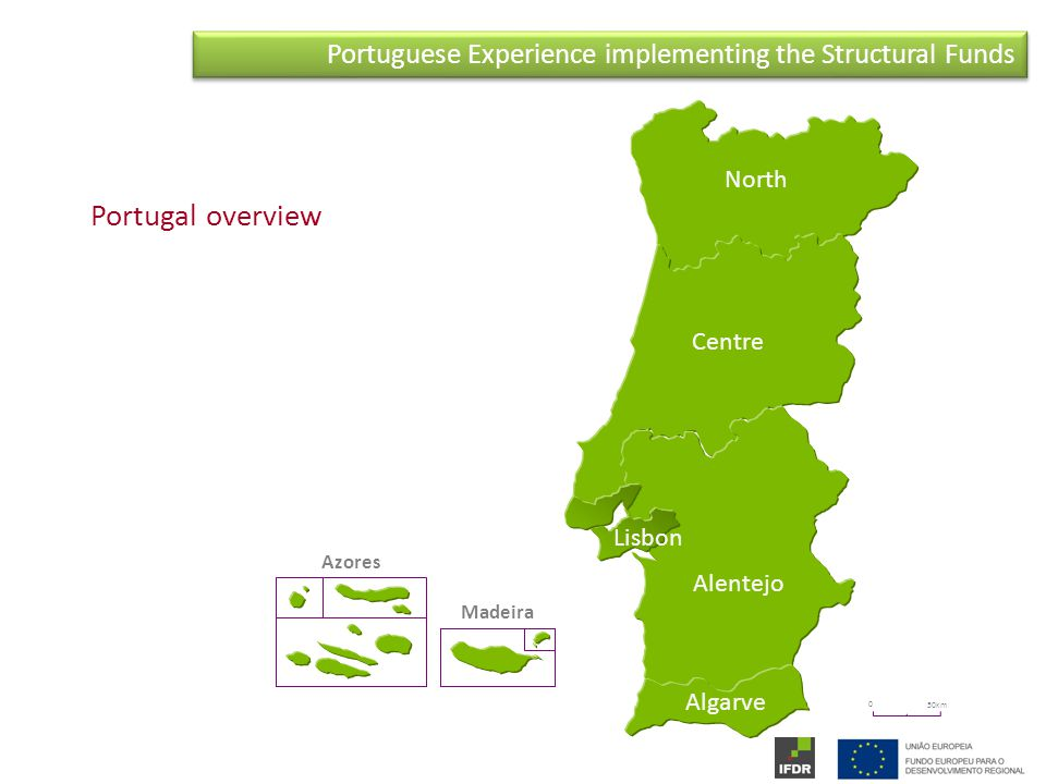 Portuguese Experience implementing the Structural Funds 0 50km North Centre Alentejo Algarve Azores Madeira Lisbon Portugal overview