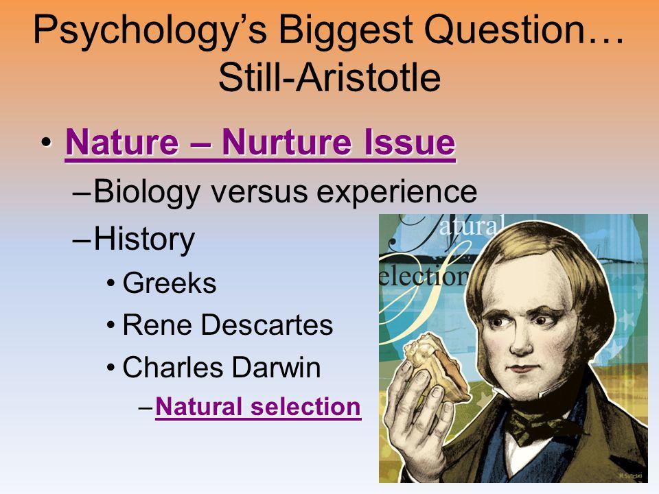 Psychology's Biggest Question… Still-Aristotle Nature – Nurture IssueNature – Nurture IssueNature – Nurture IssueNature – Nurture Issue –Biology versu