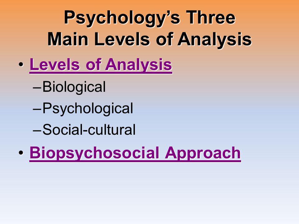 Psychology's Three Main Levels of Analysis Levels of AnalysisLevels of AnalysisLevels of AnalysisLevels of Analysis –Biological –Psychological –Social