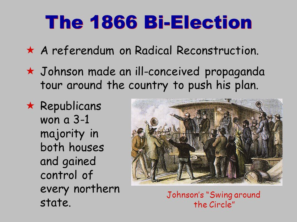 "The 1866 Bi-Election Johnson's ""Swing around the Circle""  A referendum on Radical Reconstruction.  Johnson made an ill-conceived propaganda tour aro"
