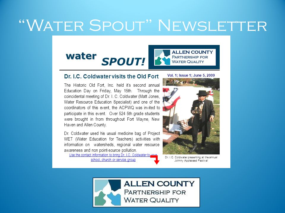 Water Spout Newsletter Vol.1; Issue 1; June 5, 2009 Dr.