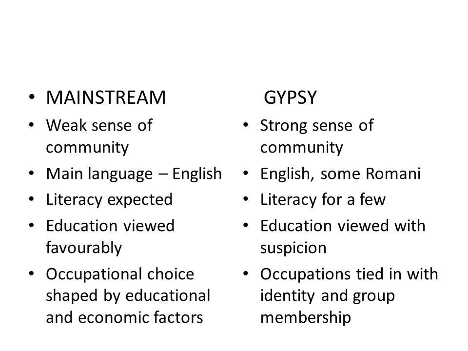MAINSTREAM GYPSY Weak sense of community Main language – English Literacy expected Education viewed favourably Occupational choice shaped by educational and economic factors Strong sense of community English, some Romani Literacy for a few Education viewed with suspicion Occupations tied in with identity and group membership