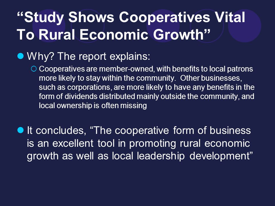 Study Shows Cooperatives Vital To Rural Economic Growth Why.