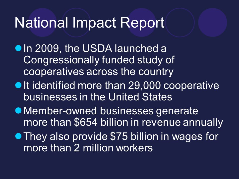 And In Minnesota The Midwest features the highest concentration of co- ops in the country 3.4 million cooperative memberships Statewide, cooperatives generate nearly $11 billion annually, approximately 80,000 jobs and $146M in state and local taxes