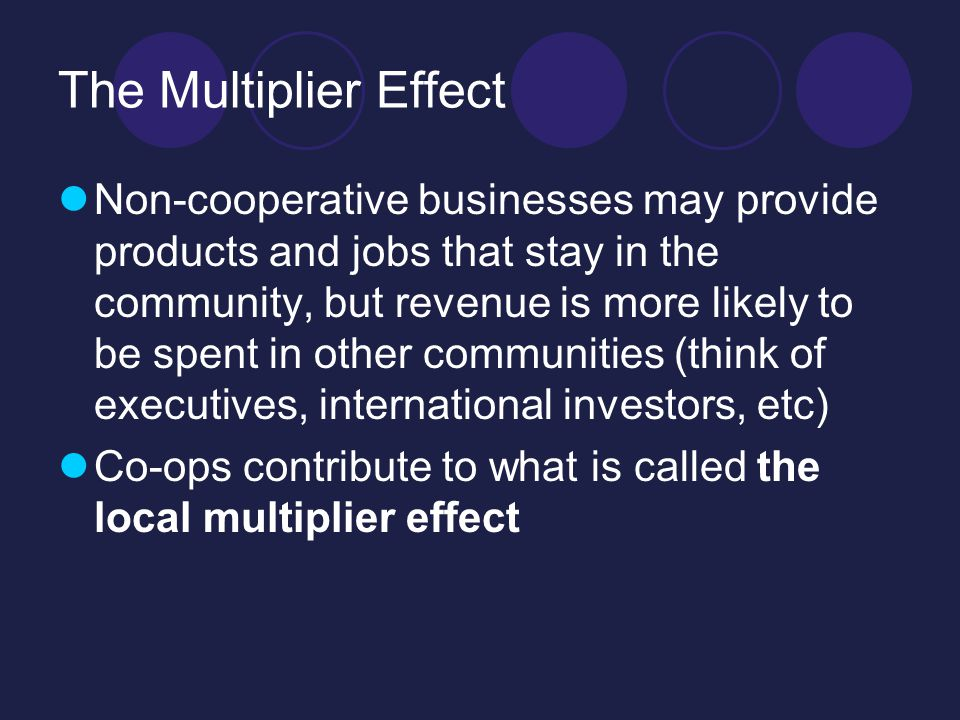 The Multiplier Effect Non-cooperative businesses may provide products and jobs that stay in the community, but revenue is more likely to be spent in other communities (think of executives, international investors, etc) Co-ops contribute to what is called the local multiplier effect