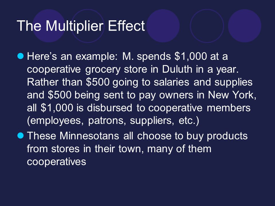 The Multiplier Effect M's $1,000 of goods produced $1,000 of revenue, which immediately was used to produce another $1,000 of goods and $1,000 of revenue.