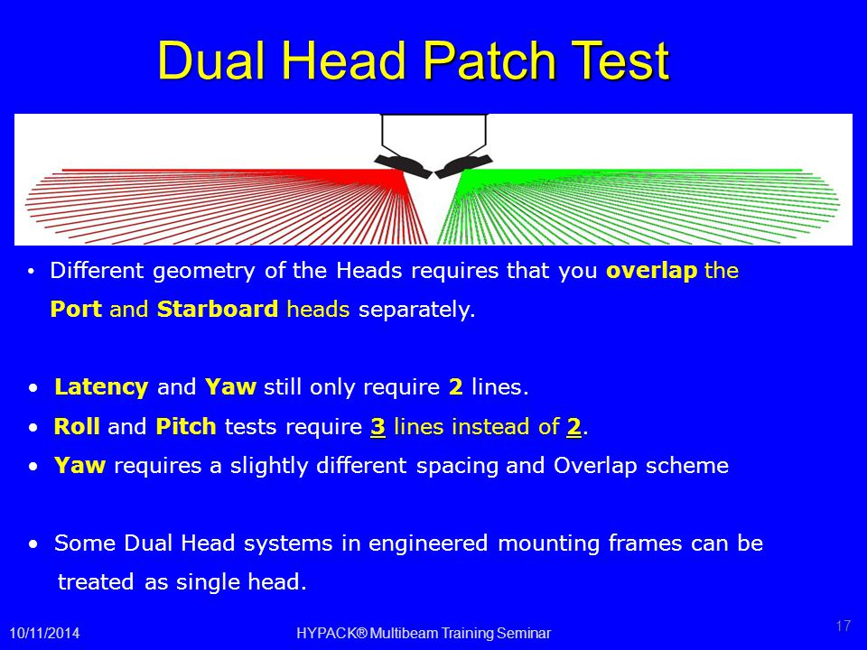 Dual Head Patch Test 10/11/2014HYPACK® Multibeam Training Seminar 17 Different geometry of the Heads requires that you overlap the Port and Starboard