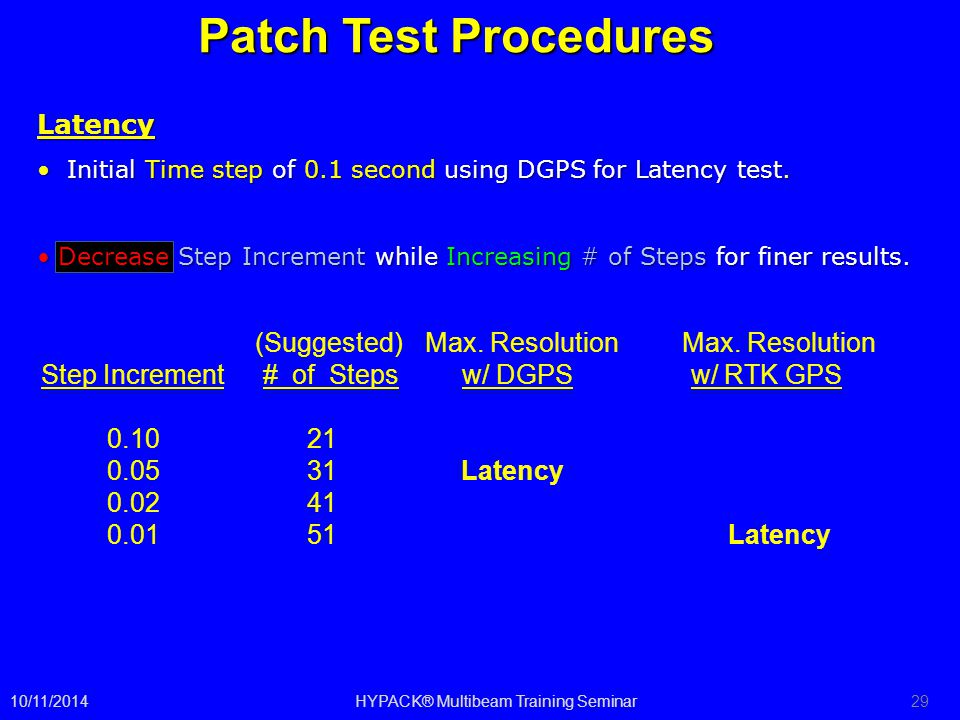 Patch Test Procedures (Suggested) Max. Resolution Max. Resolution Step Increment # of Steps w/ DGPS w/ RTK GPS 0.10 21 0.05 31 Latency 0.02 41 0.01 51