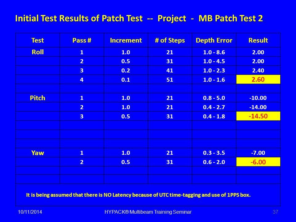10/11/2014HYPACK® Multibeam Training Seminar37 TestPass #Increment# of StepsDepth ErrorResult Roll 11.0211.0 - 8.62.00 20.5311.0 - 4.52.00 30.2411.0 -