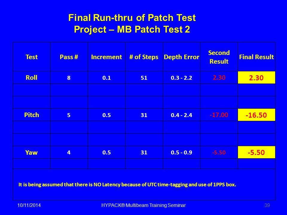 10/11/2014HYPACK® Multibeam Training Seminar39 TestPass #Increment# of StepsDepth Error Second Result Final Result Roll 80.1510.3 - 2.2 2.30 Pitch 50.
