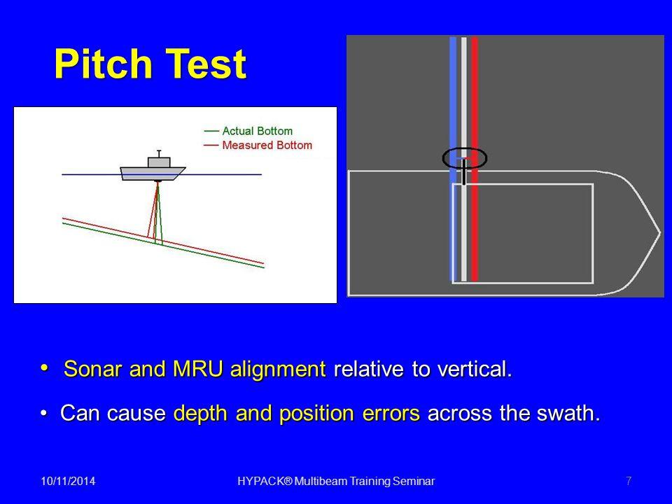 10/11/2014HYPACK® Multibeam Training Seminar7 Pitch Test Sonar and MRU alignment relative to vertical. Sonar and MRU alignment relative to vertical. C
