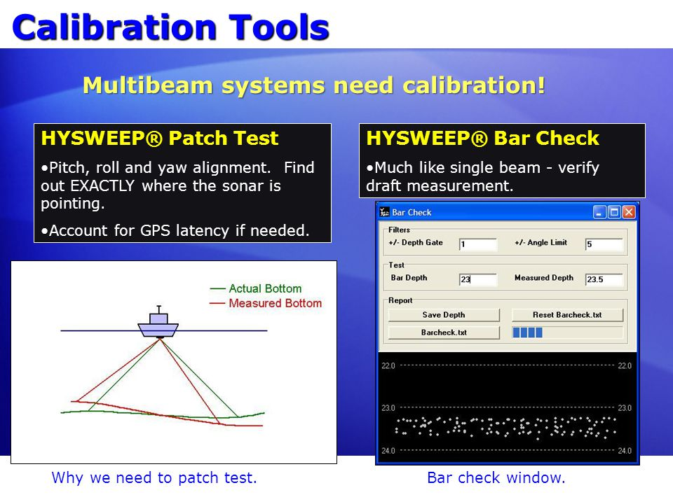 Calibration Tools HYSWEEP® Patch Test Pitch, roll and yaw alignment. Find out EXACTLY where the sonar is pointing.Pitch, roll and yaw alignment. Find