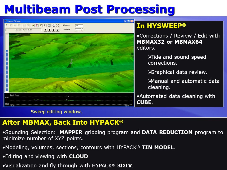 Multibeam Post Processing In HYSWEEP ® Corrections / Review / Edit with MBMAX32 or MBMAX64 editors.Corrections / Review / Edit with MBMAX32 or MBMAX64