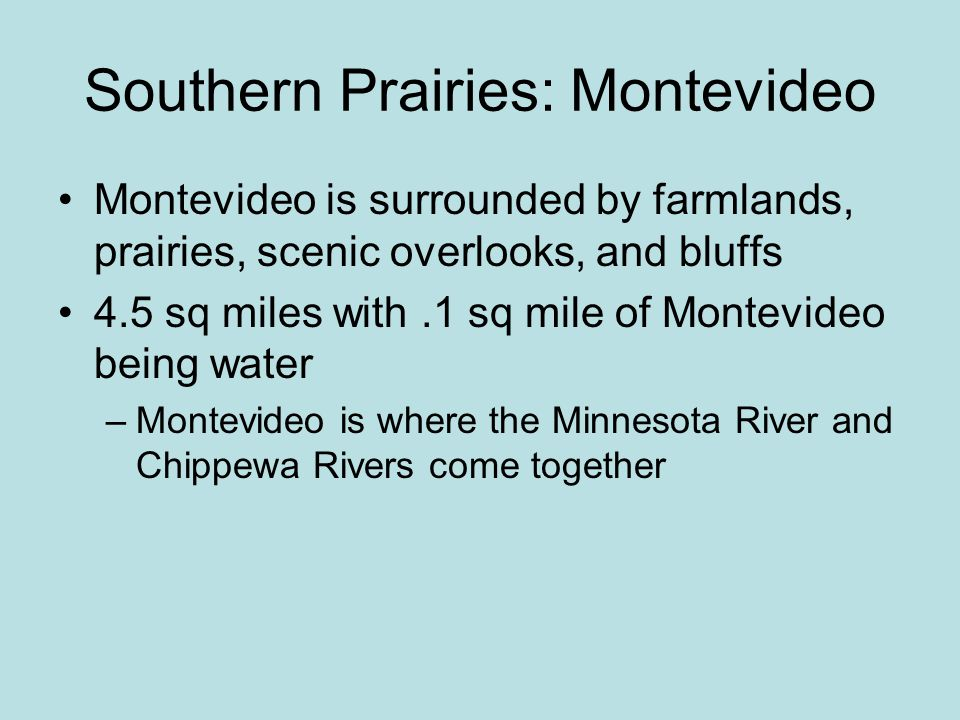 Southern Prairies: Montevideo Montevideo is surrounded by farmlands, prairies, scenic overlooks, and bluffs 4.5 sq miles with.1 sq mile of Montevideo being water –Montevideo is where the Minnesota River and Chippewa Rivers come together