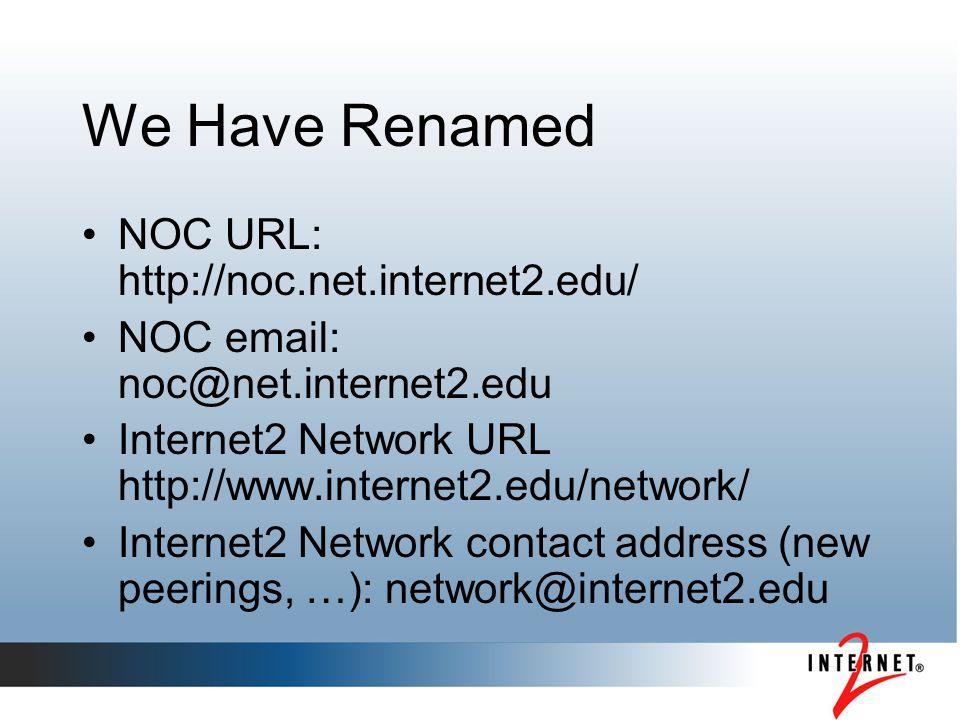 We Have Renamed NOC URL: http://noc.net.internet2.edu/ NOC email: noc@net.internet2.edu Internet2 Network URL http://www.internet2.edu/network/ Intern