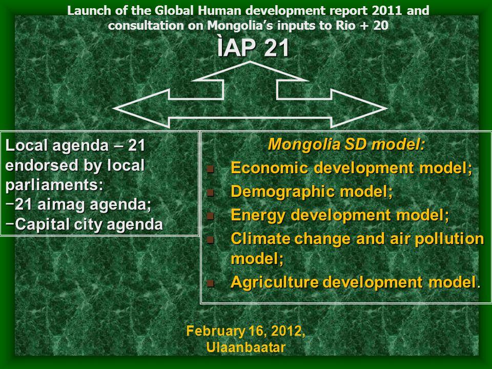 ÌAP 21 Mongolia SD model: Economic development model; Economic development model; Demographic model; Demographic model; Energy development model; Energy development model; Climate change and air pollution model; Climate change and air pollution model; Agriculture development model.