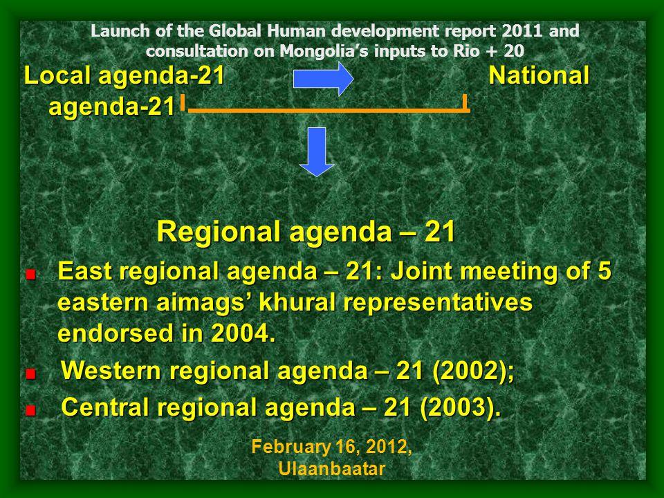 Local agenda-21 National agenda-21 Regional agenda – 21 East regional agenda – 21: Joint meeting of 5 eastern aimags' khural representatives endorsed in 2004.