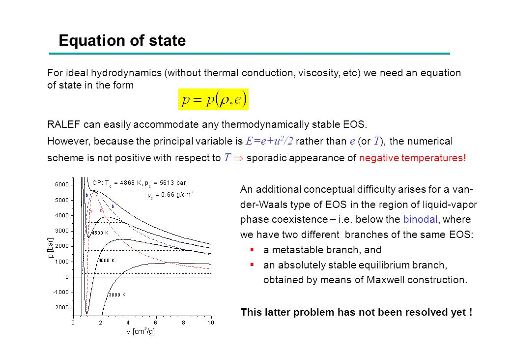 Equation of state For ideal hydrodynamics (without thermal conduction, viscosity, etc) we need an equation of state in the form RALEF can easily accom