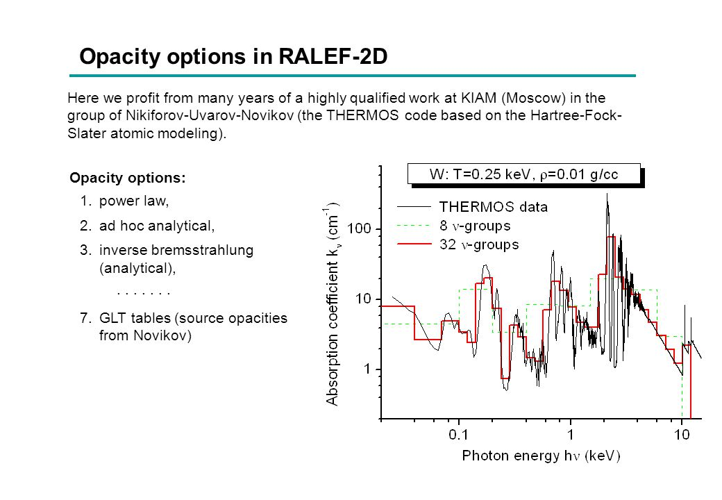 Opacity options in RALEF-2D Here we profit from many years of a highly qualified work at KIAM (Moscow) in the group of Nikiforov-Uvarov-Novikov (the T