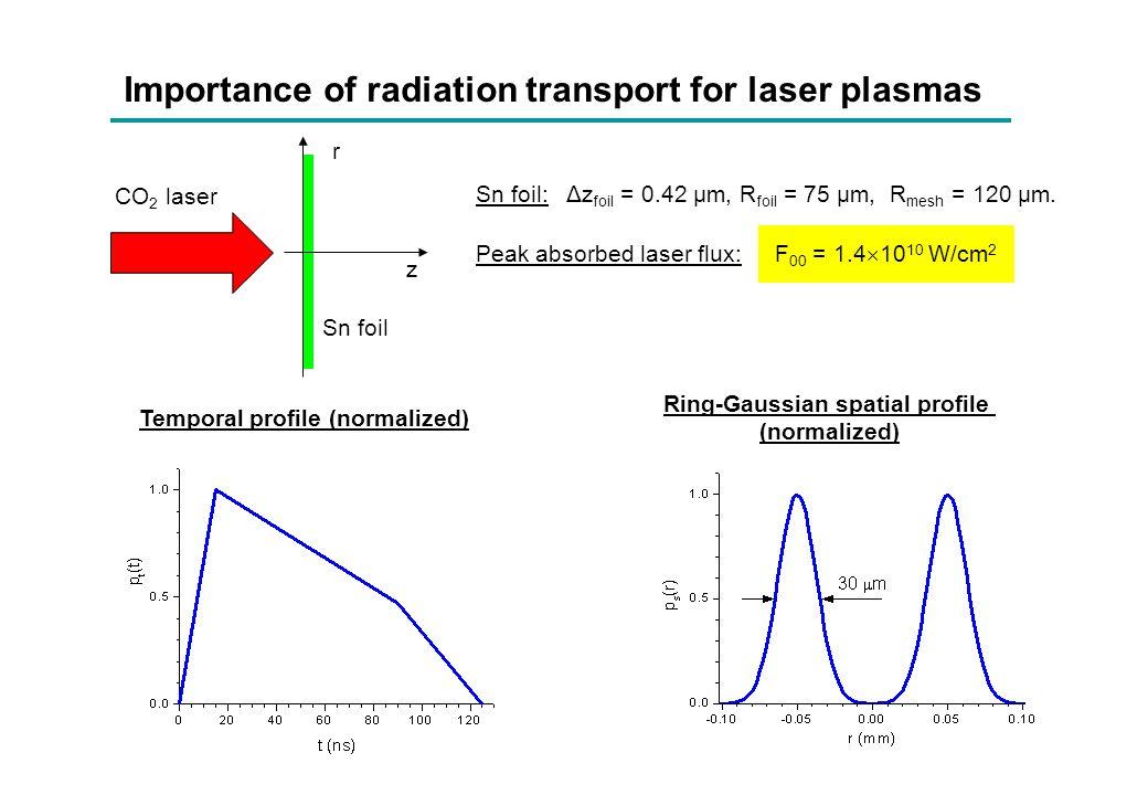 Importance of radiation transport for laser plasmas Peak absorbed laser flux: F 00 = 1.4  10 10 W/cm 2 Sn foil: Δz foil = 0.42 µm, R foil = 75 μm, R