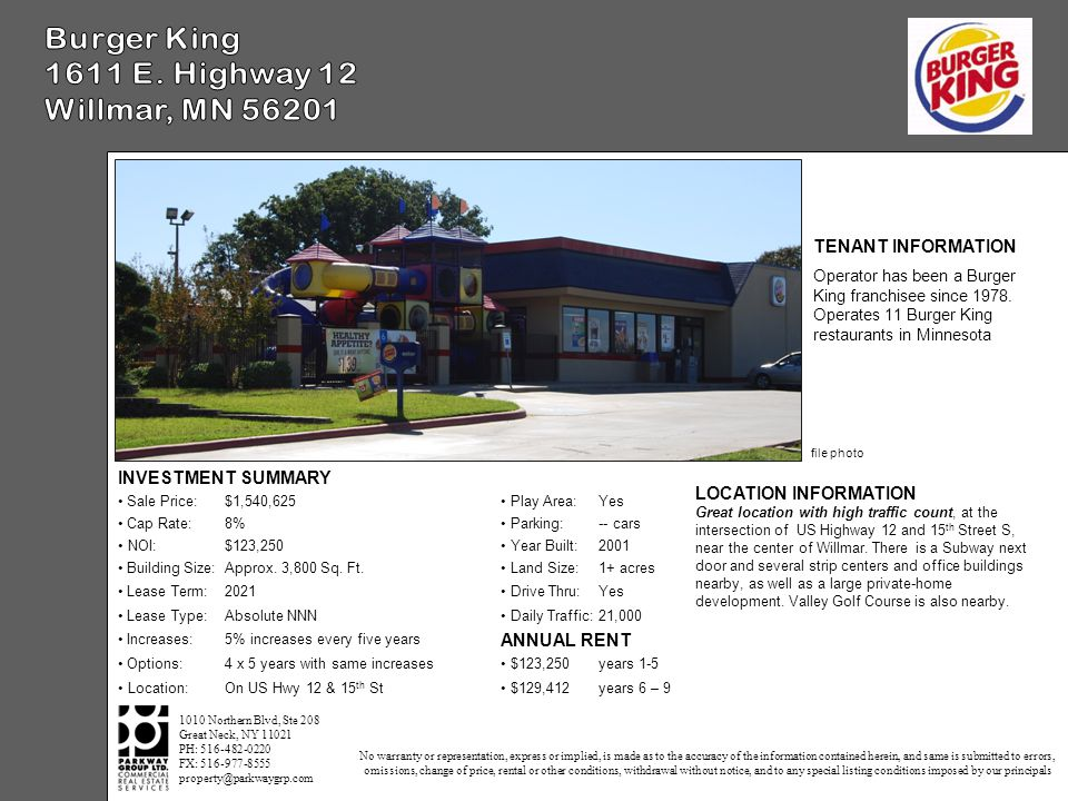 INVESTMENT SUMMARY Sale Price:$1,540,625 Play Area:Yes Cap Rate:8% Parking:-- cars NOI:$123,250 Year Built:2001 Building Size:Approx.