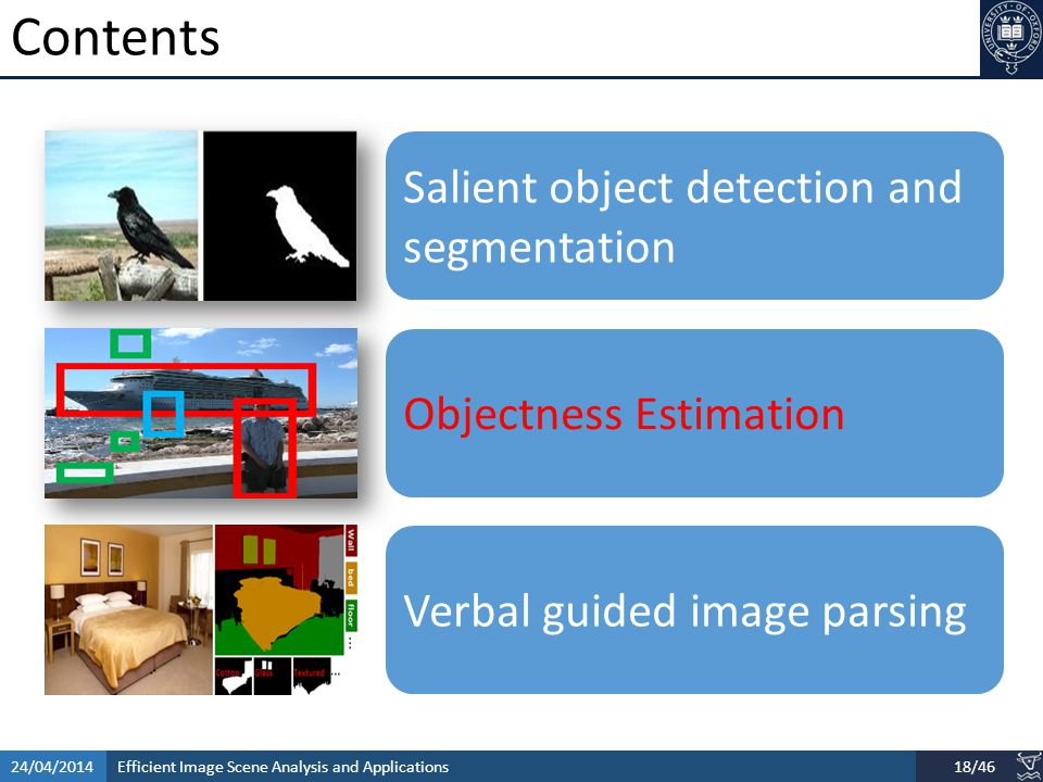 Efficient Image Scene Analysis and Applications24/04/201418/46 Contents Salient object detection and segmentation Objectness Estimation Verbal guided image parsing
